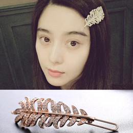 Wholesale Korea Fashion Hair Clip - Europe and America big brand Korea hair clip high quality real gold plated AAA zircon shiny leaves hair accessory women fashion hair jewelry