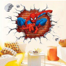 Wholesale Movie Wall Poster - 3D Spiderman Break Through the Wall Art Mural Decor Sticker Kids Boys Girls Room Wall Decal Poster Classic Spiderman Wall Graphic