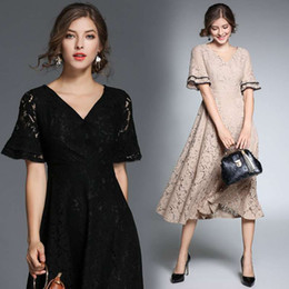Wholesale Casual Tea Length Lace Dress - Women Autumn V Neck Lotus Sleeves Lace A Line Cocktail Dresses Tea Length Short Party Prom Evening Dresses In Khaki Black and yellow