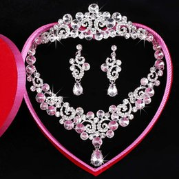 Wholesale Three Hearts Jewelry - Free Shipping Fashion Newest Three-piece Bridal Accessories Tiaras Hair Necklace Earrings Accessories Bridal Wedding Jewelry Sets