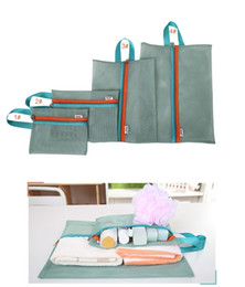 Wholesale Mesh Fabric Underwear - Free Shipping 4 Pieces Set Travel Luggage Packing Mesh Pouch Organizer Bag Shoe Bag Underwear Travel Bag