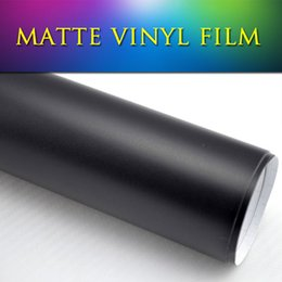 Wholesale Wrapping Glue For Vinyl - 1.52x30m(5x98ft) paint protection film bubble vinyl wrap roll Matte Flat Black Vinyl for auto tuning