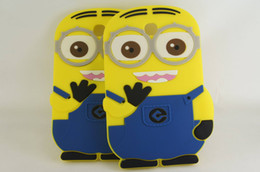 Wholesale Cute Galaxy Tablet Cases - Cute Despicable Me Minion Cartoon Soft Silicon Case Cover For Samsung Galaxy Tab 3 P3200 7 inch Tablet PC Free Shipping 1pcs