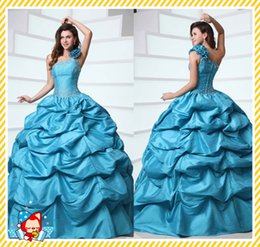 Wholesale Custom Silk Flower Balls - Emmani 2015 One Shoulder Quinceanera Dresses Ball Gown Pleated Beaded Handmade Flower Tiered Beautiful Sweet Coral Prom Dress Evening Gowns