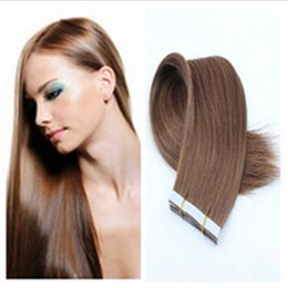 Wholesale 26 Inch Tape Hair Extensions - PU Skin Weft Tape Hair Extensions Best Selling Brazilian Hair Straight #613 Bleach Blonde Remy Human Hair 22 inch