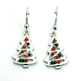 Wholesale christmas tree decoration crystal - Fashion Charms Earrings Silver Plated Dangle Rhinestone Christmas Tree Earrings For Women Christmas Decoration Gifts Jewelry