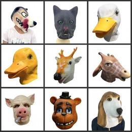 Wholesale Fancy Dog Accessories - Latex Halloween Adult Animal Mask Full Face Scary Breathable Dog Horse Duck Deer Beer Cat Head Cosplay Fancy Ball Party Masks