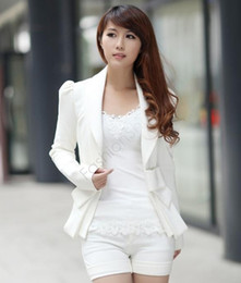 Wholesale New Arrivals Women Suits - New Arrival Korea Women Spring Autumn Jackets Big Bowknot Career OL White ladies Slim Suit Blazer Coats S, M, L and XL SV01 7327