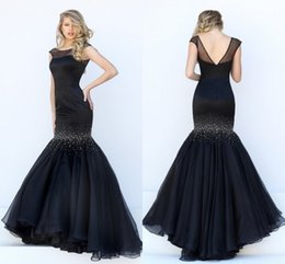 Wholesale Long Classy Evening Backless - Classy Black Prom Dresses Mermaid Long Sheer Neck Pleated Sexy V Back Floor Length Best Dressed Illusion Evening Gowns Beaded