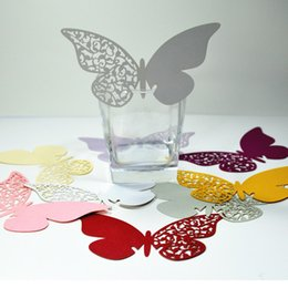 Wholesale Wedding Place Card Cut Out - Multi-Usage 200 Pcs Butterfly Cut-out Place Escort Wedding Party Wine Glass Paper Cards free shipping TY882