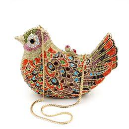 Wholesale Colourful Birds - luxury Evening Bag Fashion colourful bird Handbag Bling Crystal Clutch Metal Hard Case HK crystal Bag Diamond Bag Jewellery Box