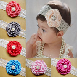 Wholesale thin baby headbands - 2016 Baby Lace Headbands satin Flower Headbands Thin Elastic Bands Toddler Girls Newborn Headbands Hair Band 30pcs freeshipping