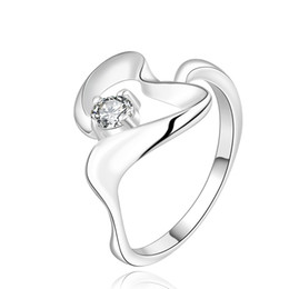 Wholesale Ring Silver Swarovski - New! 925 sterling silver Clear Swarovski crystal wedding ring R468