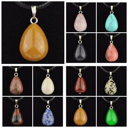Wholesale Drop Shaped Stone Pendant - Wholesale Lots 12pcs Fashion 3D Water Drop-shaped Natural Stone Necklace Agate Tiger's Eye Malachite Teardrop Pendants Gift MN485