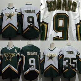 2019 broderie étoile Hommes Dallas Stars 9 Mike Modano 35 MARTY TURCO 1999 2005 2003 Chandails Vintage Broderie Pas Cher Stiched Hockey Jersey Vert Blanc promotion broderie étoile