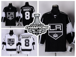 Discount hockey jerseys la kings - 2014 Stanley Cup Champions Los Angeles Kings #8 Drew Doughty LA Kings Jersey Team Color Home Black Road White Stitched Jerseys