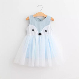 Wholesale One Piece Fox - 2T-7T Girls' Cotton fox lace dress One Piece Sleeveless Girls dresses Pink Blue 2 colors 5sizes Spring Summerv B11