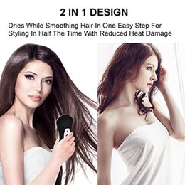 Wholesale Ion Generators - Infrared Mini One Step Hair Dryer & Styler Hot Air Paddle Brush | Negative Ion Generator Hair Straightener For All Hair Types | Eliminate