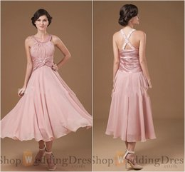 Wholesale Ruched Trim - 2015 Halter Criss Cross Prom Dresses Long resses Sleeves Chiffon Tea Length Sequins Trimmed Pink Mother Of Bride Dresses for Evening Dresses