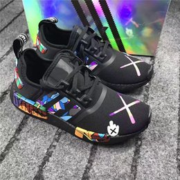 Wholesale Golf R1 - NMD R1 X Kaws Boost Original Boost Black Men Running Shoes Original Quality Breathble Outdoor Sneakers With Box