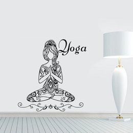 Wholesale Lotus Wall Decals - Yoga Lotus Pose Wall Stickers Words Gym Wall Decor Vinyl Wall Decals Home Interior Design Bedroom Studio Window Dorm Art Murals
