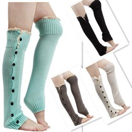Wholesale Ladies Army Boots - Fashion Women Lady Knee High Knit Flat Lace Trim Button Down Crochet Leg Warmers Boot Socks Gaiters Covers Leggings Tight 8Colors DHL Free