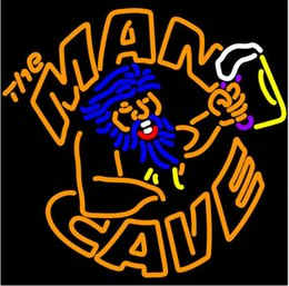 """La birra al neon segna la caverna dell'uomo online-The Man Cave Beer Cup Neon Light Registrati a mano Real Glass Tube Bar KTV Club Store Hotel Pubblicità Display Neon Signs 24 """"X24"""""""