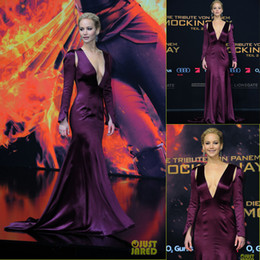 Wholesale Jennifer Lawrence Silver Dress - Long Sleeve Mermaid Evening Dresses 2016 New Jennifer lawrence Sexy Deep V Neck Sweep Train Formal Party Celebrity Gowns