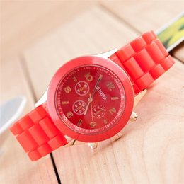Wholesale Diamond Jelly Candy Silicone - Geneva Silicone Watch Womens Crystal Diamond Candy Jelly Wristwatches Crystal Diamond Jelly Rubber Silicone mechanical watches hot sale