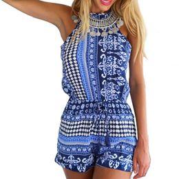 tuta bianca piena delle donne Sconti Hot Summer Pagliaccetti Womens Backless Jumpsuit Floral Print Playsuit Pantaloni corti Hot FG1511