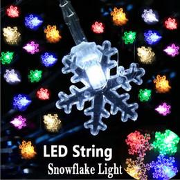 Wholesale Pink Snowflake Ornament - Small Snowflake LED String Lights 220V 110V 5M Colorful Christmas Led Strings Light Festival Christmas Ornaments Outdoor Lighting