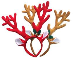 Proveedores de hebilla online-Decoración de Navidad Deer Bell grandes cornamentas Christmas Head Hoop Hebilla Fiesta de Navidad Proveedores Regalos de vacaciones