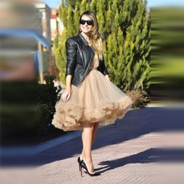 Wholesale Bouffant Knee Length Skirt Black - 2016 Special Two Ways Wear Princess Fairy Style 5 Layer Tulle Skirt With Ruffles Bottom Bouffant Puffy Fashion Tutu Tulle Skirts