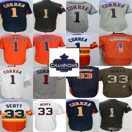Wholesale Scott Jersey Short Women - Cheap 2017 Houston Strong WS Champions Patch Men Women Youth Toddler 1 Carlos Correa 33 Mike Scott Orange Grey White Blue Baseball Jerseys