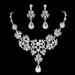 Wholesale Teardrop Crystal Bridal Set - Cheap Crystal Rhinestone Silver Plated TearDrop-Shaped Necklace Earrings Set Bridal Bridesmaid Prom Party Jewelry Accessory ZM