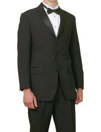 Wholesale Complete Black Suit - New Groom Tuxedos Wedding Suits Classic Fit New Mens 5 Pc Complete Black Tuxedo Suit Jacket Pants Shirt Cummerbund Bow Tie