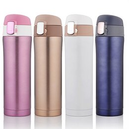 Wholesale flask coffee - 450ml Stainless Steel Double Walled Insulated Thermos Cup Vacuum Flask Coffee Mug Travel Drink Water Bottle Thermo Mug