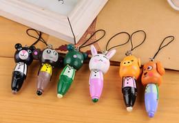 Wholesale Pen Pendant - 18%OFF Wooden cartoon animals carry pen short wooden pen   phone pendant   cartoon wooden ball point pen.Children's school supplies.15pcs SQ