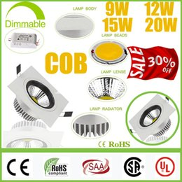 Wholesale Recessed Power - Limited 30% OFF-Square 9W 12W 15W 20W Dimmable COB LED Downlights+Power Supply Tiltable Fixture Recessed Ceiling Down Lights Lamps CSA SAA