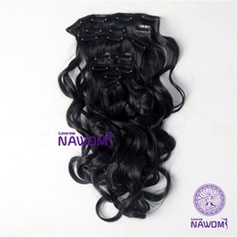 Wholesale Ombre Clips For Hair Extension - New Arrival Heat Resistant Clip In Synthetic Hair Extensions 7Pcs 17.7 Inch Long Body Wave #2 Black Hairpiece For One Full Head