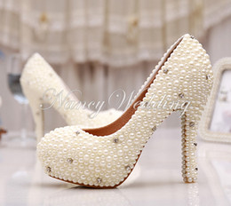 Wholesale Brides Mother Shoes - Women Wedding Shoes Bridal Spring Single High Heels Ivory Pearl Rhinestone Party Prom Shoes High Quality Women Pumps Mother of Bride