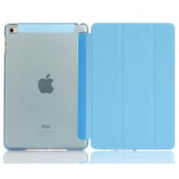 Wholesale Slim Magnetic Ipad Cases - Slim Magnetic Smart Cover Back Plastic Case for iPad mini Air 2 3 5 6 Stand Holder 3 Folding Matte Cases Clear Color