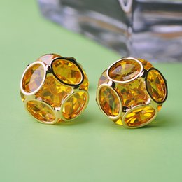 Wholesale Today Offers - Summer Style Women Stud Earrings Lustre Yellow Crystal Korean Ear Cuffs Gold Brincos Wedding Fine Jewelry Joias Diy Today Offers