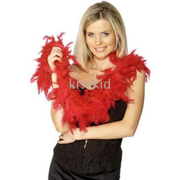 Boa di piume rosse online-5 pezzi Fancy Dress Accessory Red Boa Boa Party Costume 2M Natale festa di nozze per feste