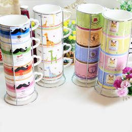 Wholesale Wholesalers Christmas Coffee Mugs - Christmas Gift Color Cups 4pcs set Heat-resistant Ceramic Coffee Milk Mug Cup No Metal Base Creative European Drinkware SK002