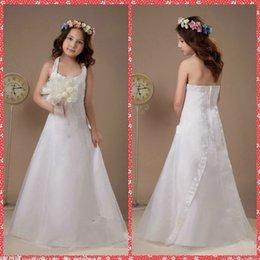 Wholesale Cheap Pageant Dresses Online - Halter A-Line White Flower Girl Dresses Floor-Length Lace Appliques Sequined Custom Formal Wear Pageant Party Gowns Online Cheap Sale