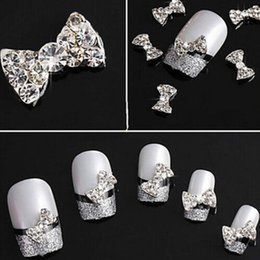 Wholesale Nail 3d Glitter Stickers - 10pcs 3D Shiny Bow Tie Crystal Rhinestone Alloy Nail Art Glitter Stickers Tip DIY Decoration Free shipping