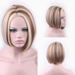 Wholesale American Girl Blonde - Synthetic wigs womens wig african american short wigs 35cm straight hair mixed color blonde wig body wave short wigs for black women