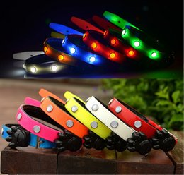 night light dog collars Promo Codes - Durable 6led dog collars Pets Dog Lights Flash Night Safety Nylon Collar Adjustable LED Collar S M L LED Nylon Neck Strap