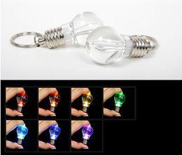 Wholesale Rainbow Flashlight Key Ring - Novelty LED Light Bulb Shaped Ring Keychain Flashlight Colorful Key Ring Keychain Lamp Rainbow Color Romantic Lover Key chain